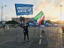 Catania, Sicily, Italy – October 2, 2020: Lega far right supporter during an politica event  in Catania