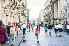 Catania, Sicily – august 15, 2018: people walk on historical street of the city, travel to Italy stock image