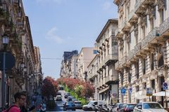Catania, Sicily – august 04, 2018: people walking on streets of the city, travel to Italy royalty free stock photography