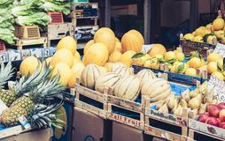 Catania, Sicily – august 11, 2018: various colorful fresh fruits in the fruit market stock photo