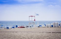 Catania, Sicily, Italy – august 15, 2018: beach Lido Cled before the thunderstorm stock photography