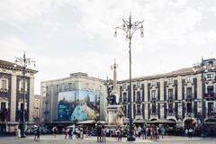 Catania, Sicily, Italy – august 08, 2018: people near famous landmark, monument The Elephant`s fountain Fontana dell`Elefante. People near famous landmark stock photos