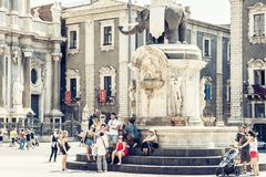 Catania, Sicily, Italy – august 16, 2018: people near famous landmark, monument The Elephant`s fountain Fontana dell`Elefante. People near famous landmark stock images