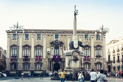 Catania, Sicily, Italy – august 09, 2018: people near famous landmark, monument The Elephant`s fountain Fontana dell`Elefante. People near famous landmark royalty free stock photo