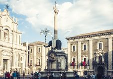 Catania, Sicily, Italy – august 08, 2018: people near famous landmark, monument The Elephant`s fountain Fontana dell`Elefante. People near famous landmark royalty free stock photo