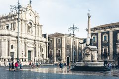 Catania, Sicily, Italy – august 15, 2018: people near famous landmark, monument The Elephant`s fountain Fontana dell`Elefante. People near famous landmark royalty free stock images