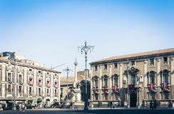 Catania, Sicily, Italy – august 14, 2018: people near famous landmark, monument The Elephant`s fountain Fontana dell`Elefante. People near famous landmark royalty free stock images