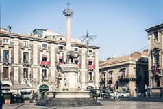 Catania, Sicily, Italy – august 14, 2018: people near famous landmark, monument The Elephant`s fountain Fontana dell`Elefante. People near famous landmark stock photos