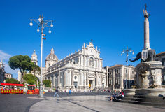 Catania, Sicily. CATANIA, ITALY - MAY 09, 2012: Catania town main square center with the Cathedral of Santa Agatha and the Elephant statue in Sicily, Italy stock photos
