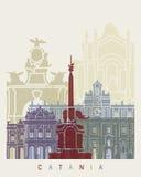 Catania skyline poster Royalty Free Stock Photography