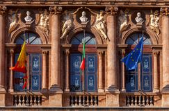 Catania. Theater Massimo Bellini. Facade of the theater Massimo Bellini sunny morning. Catania Sicily. Italy royalty free stock image
