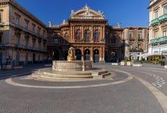 Catania. Theater Massimo Bellini. Facade of the theater Massimo Bellini sunny morning. Catania Sicily. Italy stock image