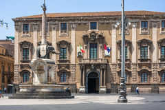 Catania town main square center (Piazza del Duomo) Royalty Free Stock Photography