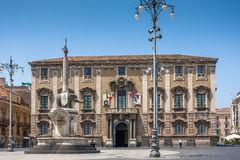 Catania town main square center (Piazza del Duomo) Stock Image