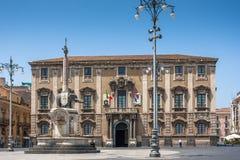 Catania town main square center (Piazza del Duomo) Stock Image