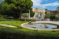 Catania, una vista del parco Giardino Bellini Fotografia Stock Libera da Diritti