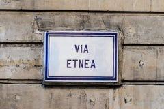 Catania, via Etnea Fotografie Stock Libere da Diritti