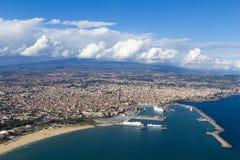 Catania. View of Catania city from airplane stock photo