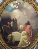 CATANIA WŁOCHY, KWIECIEŃ, - 7, 2018: Obraz Jesu kolacja z uczniami Emmaus w kościelnym Chiesa Di San Placido fotografia royalty free
