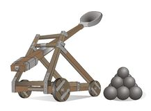Catapult. A catapult is a device used to throw or hurl a projectile a great distance without the aid of explosive devices—particularly various types of ancient Stock Photography