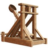 Catapult. 3D render of an old wooden catapult Royalty Free Stock Images
