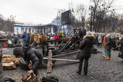 Catapult. That was used to protect the Maidan in Ukraine, Kiev the revolutionary events on the change of power in the country stock image