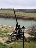 Catapult. This ancient war device is located in the medieval village of Maderuelo, Castile and Leon, Spain Stock Image