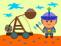 Catapult. A knight with an axe beside a catapult which is about to launch Stock Images