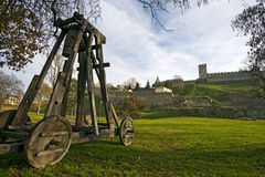Catapult under city wall Royalty Free Stock Photo