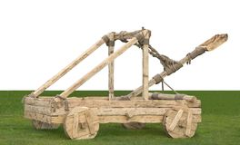 Catapult with a white place for text stock photo