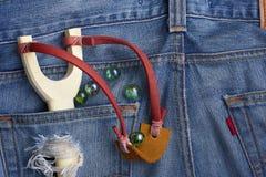Catapulta en bolsillo del dril de algodón Fotografía de archivo libre de regalías