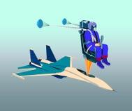 Catapulting proef met valscherm opent op een speciale zetel van vliegtuig stock illustratie
