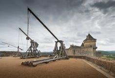 Catapults or trebuchets. Trebuchets (siege warfare). Castle of Castelnaud, Dordogne (Perigord), Aquitaine, France Royalty Free Stock Photo