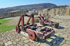 Landmark attraction in Veliko Tarnovo, Bulgaria. Catapults in the Tsarevets fortress Stock Photo