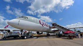 Catar Airbus A350-900 XWB na exposição em Singapura Airshow Imagem de Stock Royalty Free