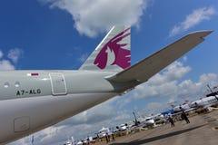 Catar Airbus A350-900 XWB na exposição em Singapura Airshow Fotografia de Stock Royalty Free