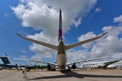 Catar Airbus A350-900 XWB na exposição em Singapura Airshow Fotos de Stock