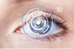 Cataract. Eye vision hologram closeup human biometric Stock Images