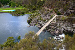 Cataract George Launceston Tasmania. Alexandra suspension bridge of Cataract George Stock Image