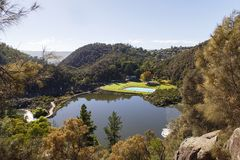 Cataract Gorge in Launceston - Tasmania. Cataract Gorge with the public swimming pool and family area next to the first basin on the South Esk River in stock photo