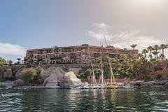 Cataracte Assouan, Egypte de légende de Sofitel d'hôtel vieille photo stock