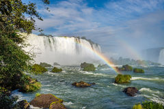Cataratas waterfalls view from the bottom with some rocks Royalty Free Stock Photos