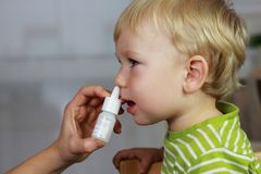 Catarrh - nose drops, nasal spray Stock Image