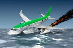 Catastrofe - caduta dell'aereo passeggeri illustrazione 3D Fotografie Stock Libere da Diritti