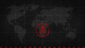 Catastrofe globale del pericolo del segno del cranio illustrazione vettoriale