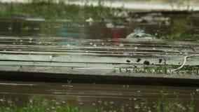 Catastrofe naturale, gambe che passano vicino attraverso l'acqua e sporcizia stock footage