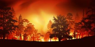Catastrophe écologique avec un incendie de forêt illustration libre de droits
