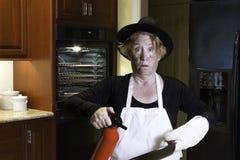 Catastrophe de cuisine de dinnner de thanksgiving Photos stock
