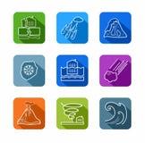 Catastrophes naturelles, icônes de découpe, colorées Images stock