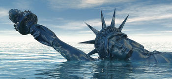 Catastrophic Climate Change. Abstract concept for global warming and climate change. Statue of Liberty representing freedom and liberty drowns in rising water Stock Images
